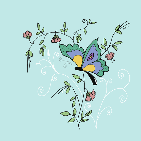 sweet pea: High quality original illustration of butterfly on sweet pea for textile or background Illustration