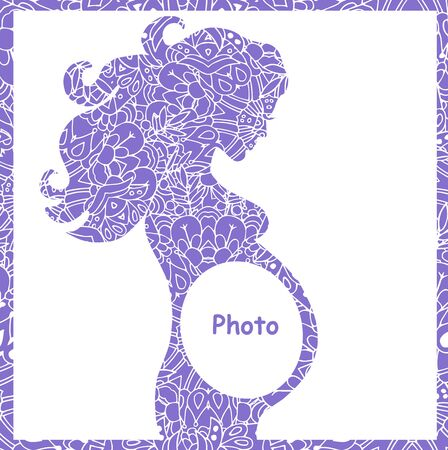 photo of pattern: Hiqh quality original illustration of pregnant girl. frame for the first photo. pattern