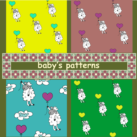 the children s: Children s pattern. A set of images. Sheep with balloons.