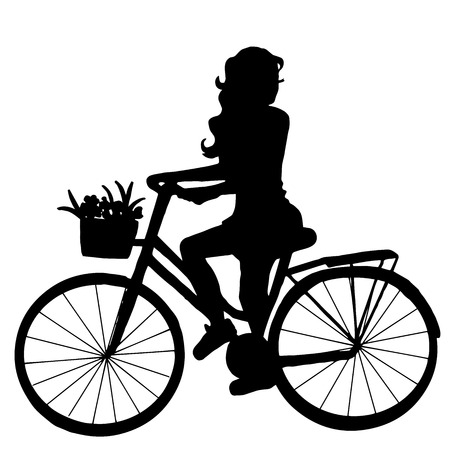 original bike: High quality original trendy vector illustration of a girl on the bike