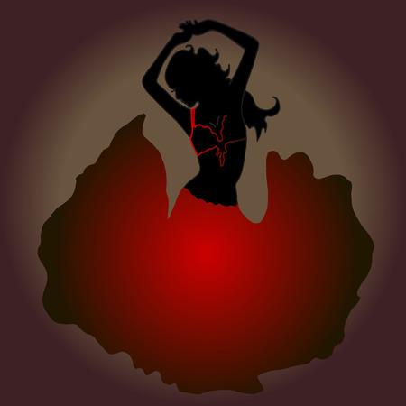 bellydance: High quality original trendy vector illustration of dancing girl. Belly dancing. Silhouette. Illustration