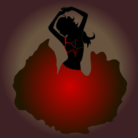 High quality original trendy vector illustration of dancing girl. Belly dancing. Silhouette. Illustration