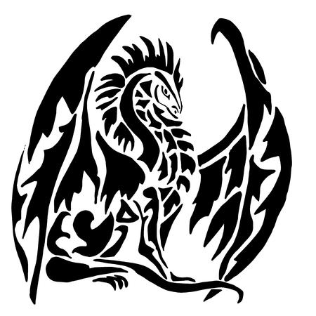 Haute qualité originale de tatouage à la mode vecteur dragon sur fond blanc, isolé