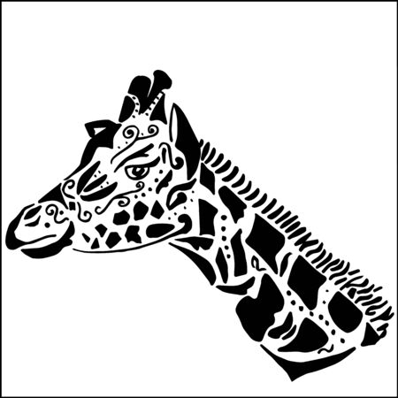 solated on white: Giraffe tattoo for coloring, solated on white background