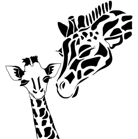 solated on white: Cute giraffe family coloring, solated on white background Illustration