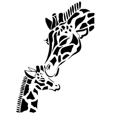 Leuke giraffamilie kleuring, opgelost op een witte achtergrond
