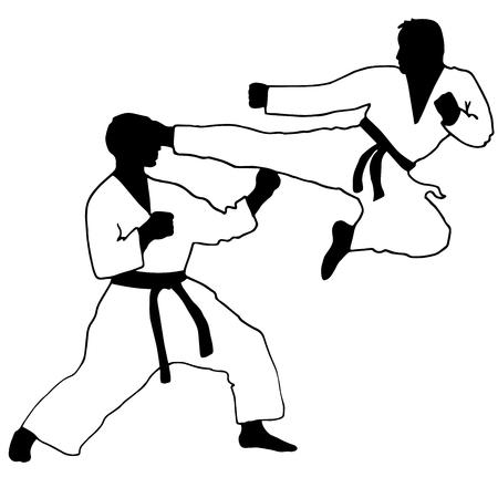 kumite: Karate. Sport. jump kick in karate sparing