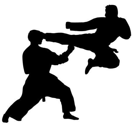 kumite: Karate. Sport. jump kick in karate sparing Isolated