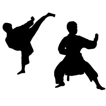kumite: Karate boy. Sport. high kick in karate Isolated