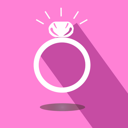fiance: Icon wedding ring with shadow on pink background