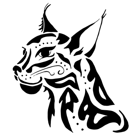 lynx: High quality lynx head tattoo for drawing for coloring