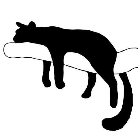 Very high quality original Silhouette  a cat lying on a branch.