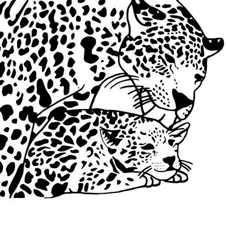 gepard: High quality drawing for coloring Mother and child leopard