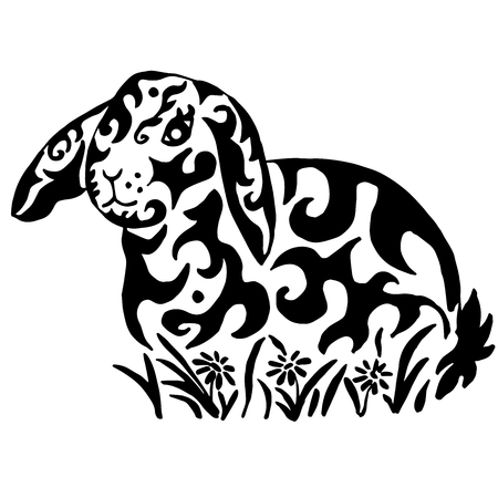Rabbit in flowers drawing for coloring or tattoo
