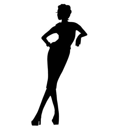 Moda kobieta w sukni na białym tle