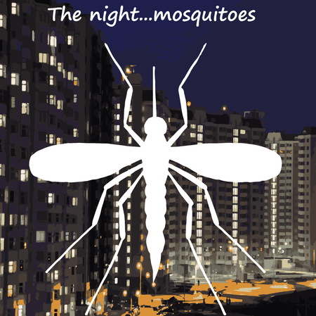 unpleasant: mosquito in night town high quality vector Illustration