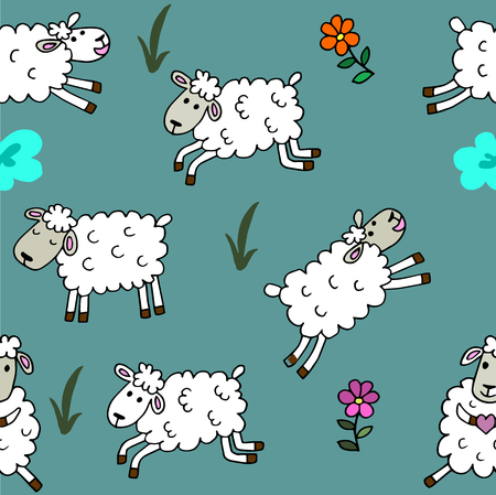 babyroom: high quality original trendy vector Seamless pattern with sheep colored for babyroom