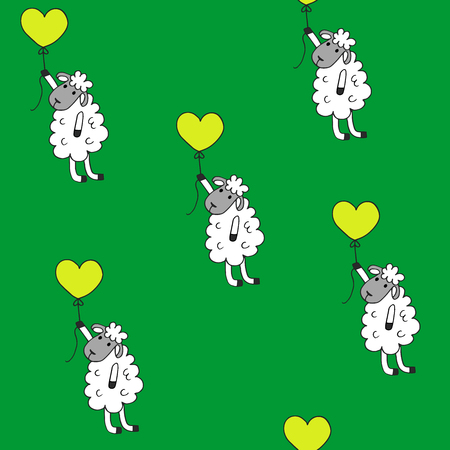 babyroom: high quality original trendy vector Seamless pattern sheep with heart baloon colored for babyroom
