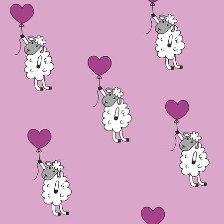 baloon: high quality original trendy vector Seamless pattern sheep with heart baloon colored for babyroom