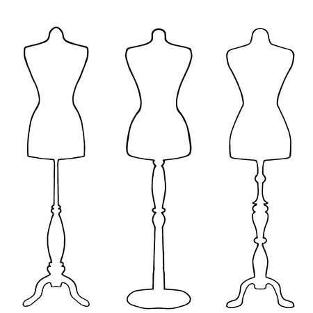 Mannequins tirées dans les grandes lignes sur fond blanc