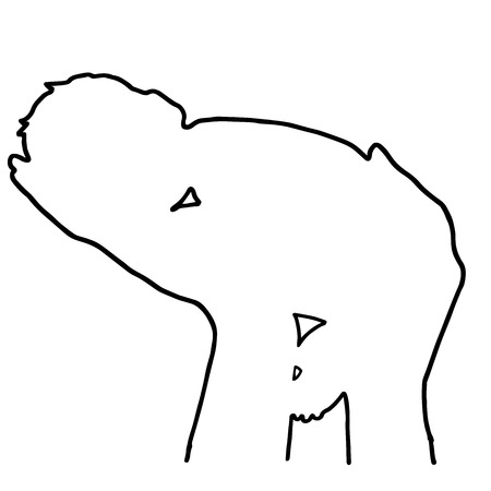 hands in: The baby in his hands drawn in outline Illustration