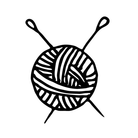 Very high quality original trendy  vector ball of yarn and knitting needles Illustration