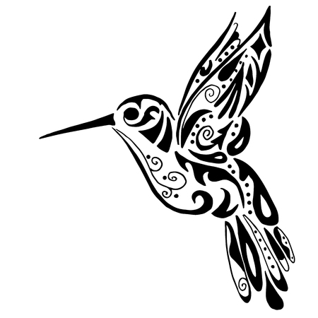 hummingbird for coloring or tattoo isolated on white background