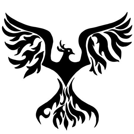 stencils: Magic bird. Phoenix for coloring or tattoo