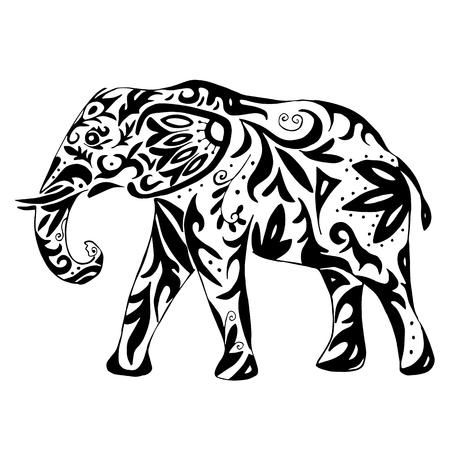 Hochwertige indischen Elefanten mit Ornament gezeichnet zum Einfärben oder Tätowierung