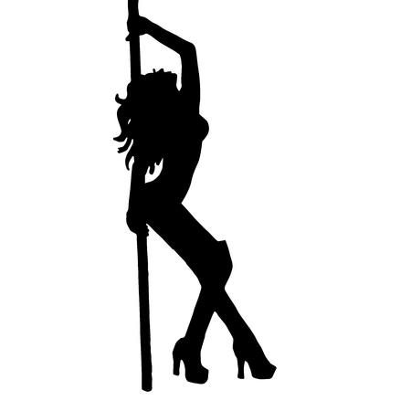 High quality original trendy vector illustration of a girl striptease poledance go-go dance