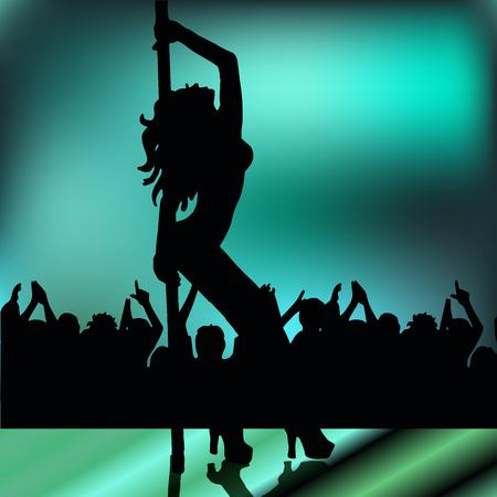 striptease: High quality original trendy vector illustration of a girl striptease poledance go-go dance