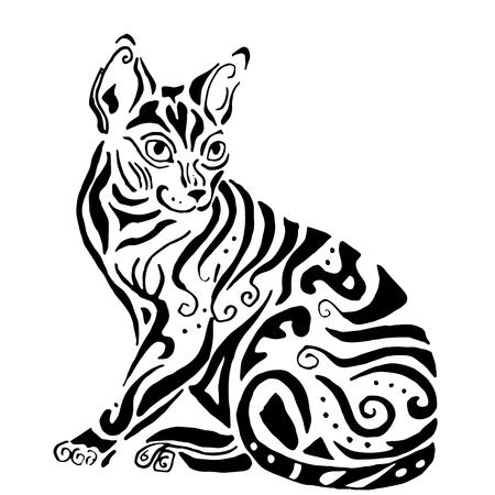 esfinge: calidad hiqh gato egipcio para colorear o un tatuaje, gato de Cornualles