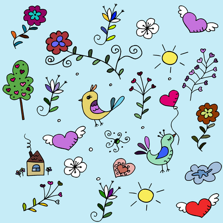 babyroom: pattern with hearts, birds and flowers for fabrick or babyroom