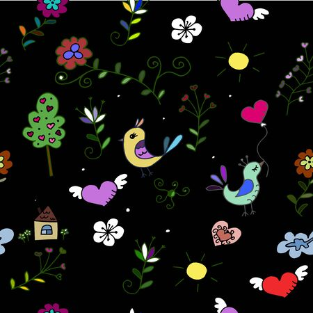 babyroom: Seamless  pattern with hearts, birds and flowers for fabrick or babyroom Illustration