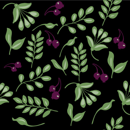 high quality original semless pattern with leaves, berry and other elements for decor, web design, design Illustration