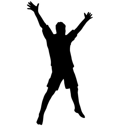 rejoices: Hiqh quality illustration of the guy that jumps and rejoices