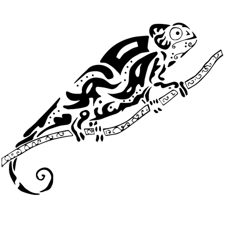 chamelion: Hiqh quality chamelion drawn in original style for coloring, tattoo or other needs