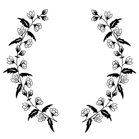 stamens: High quality original illustration frame  of spring flower for decor,postcards, design or invintation