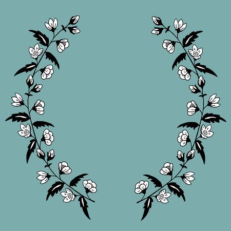 pistil: High quality original illustration frame  of spring flower for decor,postcards, design or invintation