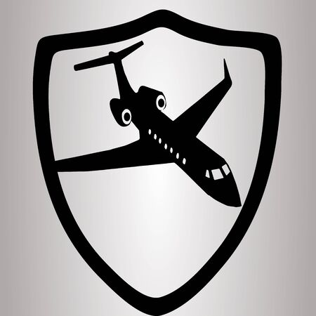airplain: Hiqh quality shield with airplain in suit pictogram icon for web design, illustrations or other needs