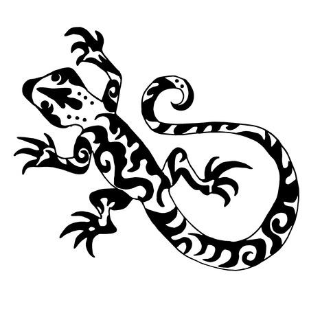 Hiqh lagarto origanl calidad o salamandra dibujado para colorear o un tatuaje Ilustración de vector