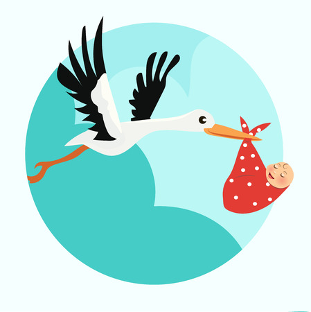baby announcement card: High quality original trendy vector baby announcement card. Stork with a baby Illustration