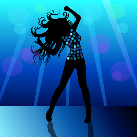 showgirl: High quality original trendy vector illustration of a beautiful Girl dance dress party