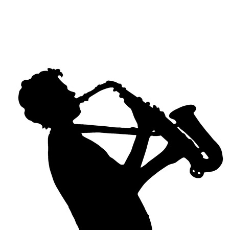 soloist: Very high quality original illustration of boy with saxophone