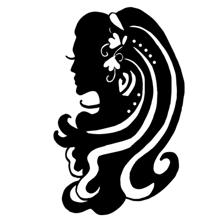 Very high quality original illustration of elegance woman hair