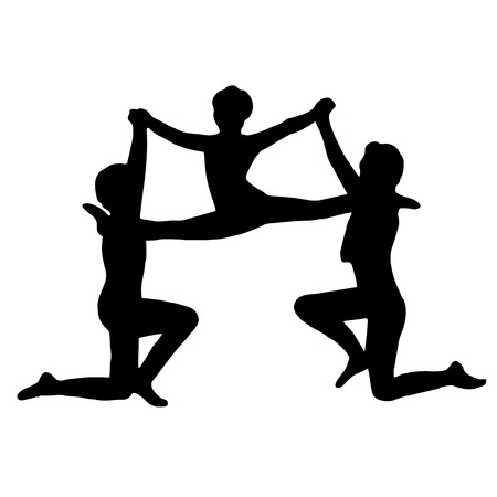 silhouettes of children: Very high quality original illustration of gymnasts performance