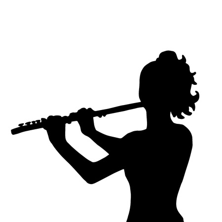 soloist: Very high quality original illustration of girl with flute