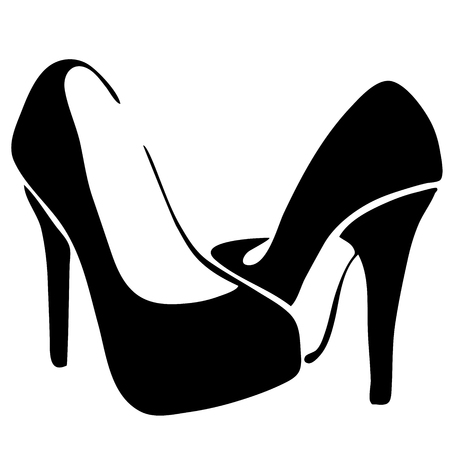 Very high quality original trendy  vector illustration of female shoes with heels for website design, mobile app or sale