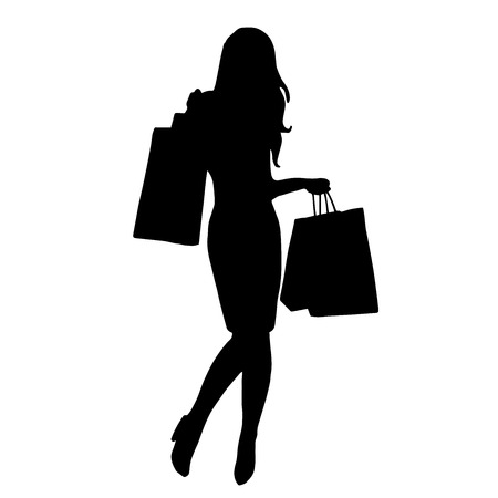 retail therapy: Very high quality original trendy  vector illustration of women shopping for website design, mobile app, sale, wedding or ads