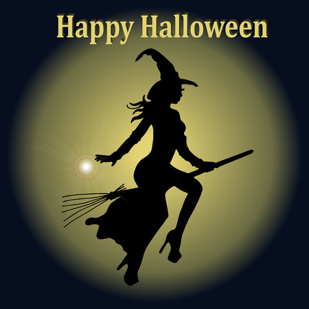 Very high quality original trendy  vector illustration of halloween witch in hat and with broom